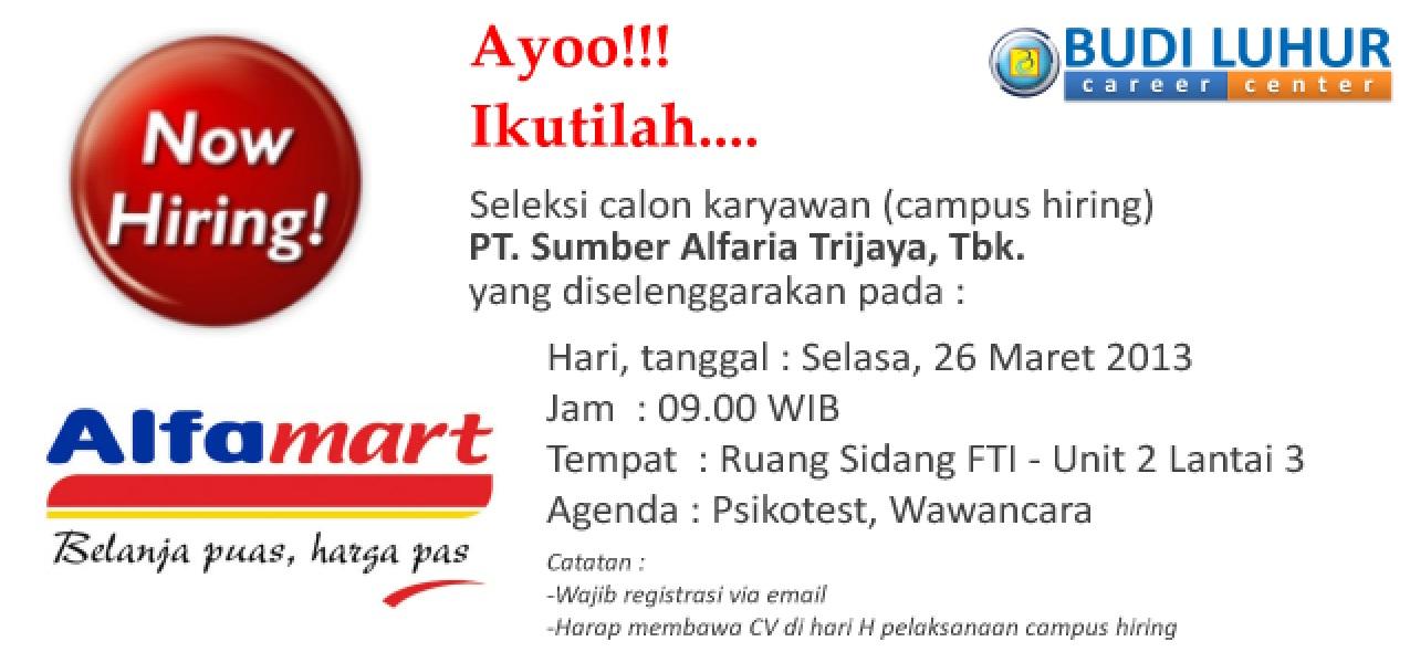 Campus Hiring Pt Sumber Alfaria Trijaya Tbk Alfamart Budi