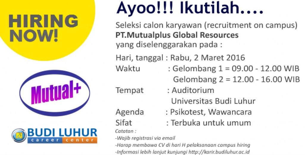 Universitas Budi Luhur Campus Hiring PT Mutualplus Global Resources update